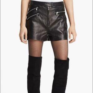 Multi Zip Leather Shorts